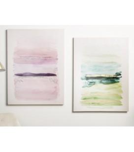 Cuadros abstractos rosa y turquesa Multicolor