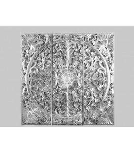 Panel de madera Dali plata y blanco