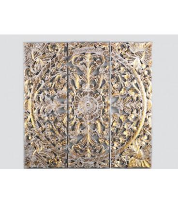 Panel de madera Dali dorado y blanco