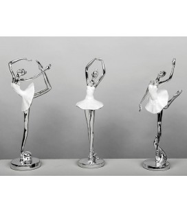 Figuras de decoración bailarinas plata y nácar