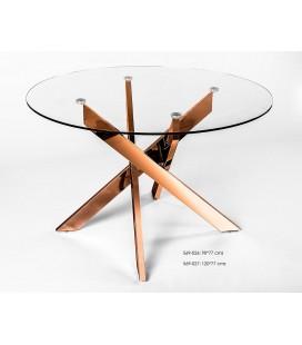Mesa de comedor redonda metal y cristal Enzo dorada