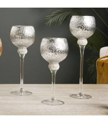 Portavelas cristal gris plata Sevilla