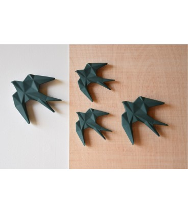 Figura decoración de pared pájaro verde oscuro