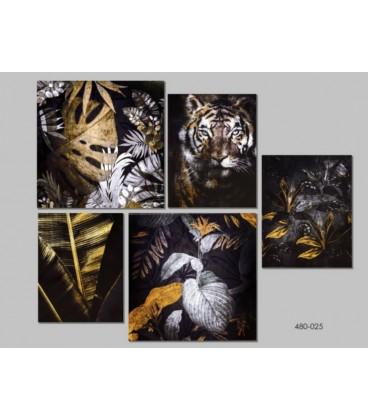 Conjunto de cuadros tigre