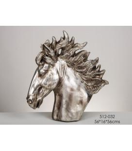 Figura de busto cabeza de caballo plata