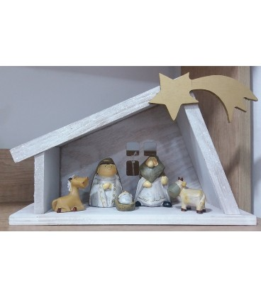 Portal de bel n moderno 5 figuras ideal para la decoraci n de navidad - Belen moderno ...