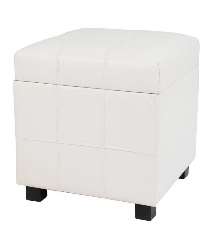 Original y cómodo puf de polipiel en color blanco ideal para el salón.