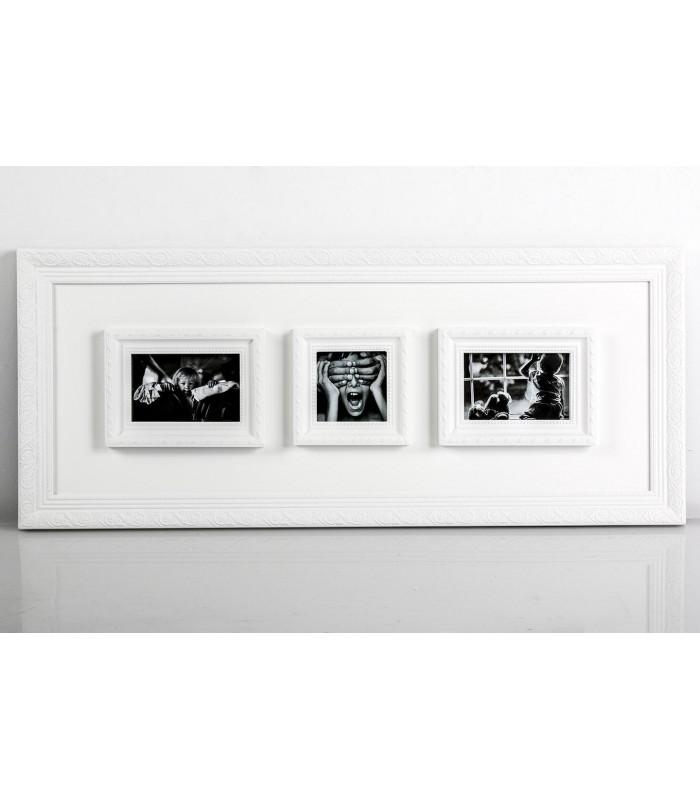 Portafoto múltiple blanco madera para decorar la pared de tu casa.