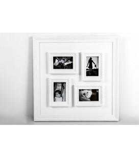 Portafoto múltiple 4 fotos blanco relieve