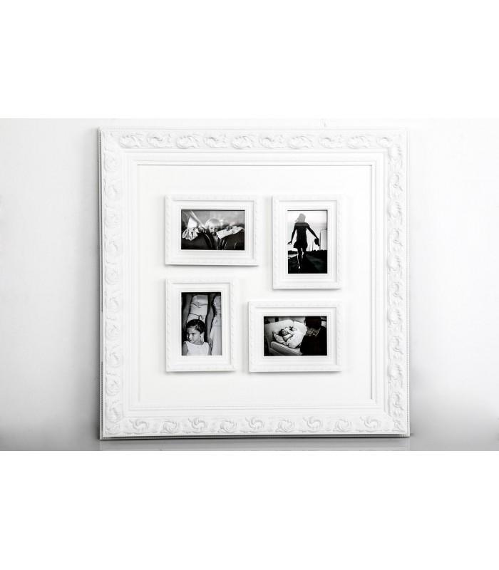 Portafoto múltiple de madera blanco para decorar las paredes de casa.