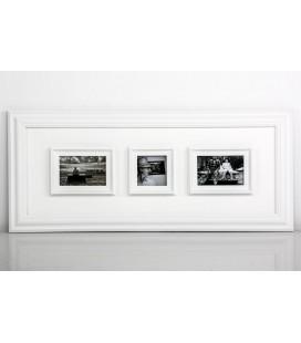 Portafoto múltiple 3 fotos blanco madera