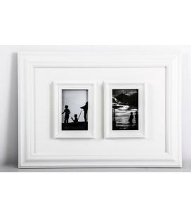 Portafoto múltiple 2 fotos blanco relieve