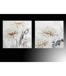 Cuadro óleo pintado flores beige