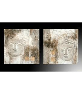 Pareja cuadros óleo Buda envejecidos
