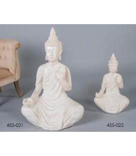 Figura original de Buda grande blanco oro