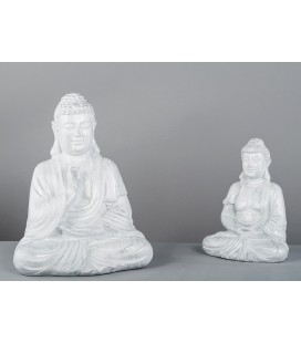 Figura original de Buda grande blanco plata