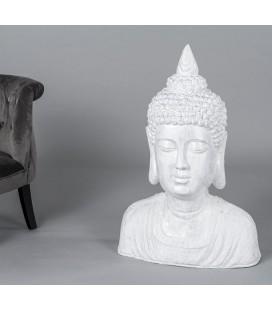 Busto Buda blanco plata