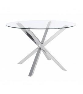 Mesa de comedor cristal templado y patas metálicas