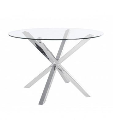 Mesa de comedor redonda de cristal con las patas metálicas muy útil.