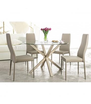 Mesa de comedor redonda de madera de roble y cristal para for Mesa comedor cristal y madera