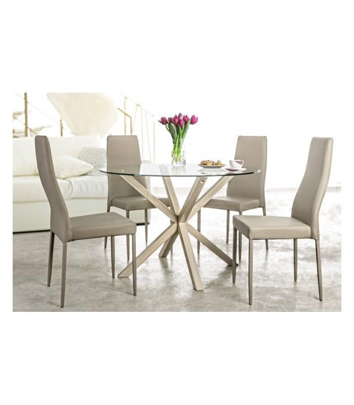 Mesa de comedor redonda de madera de roble y cristal para el comedor.