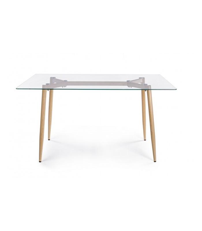 Una mesa de cristal para usar como mesa de estudio, comedor o cocina.