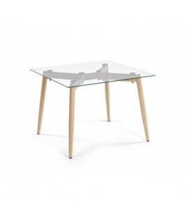 Mesa auxiliar cuadrada patas en acero y tablero de cristal