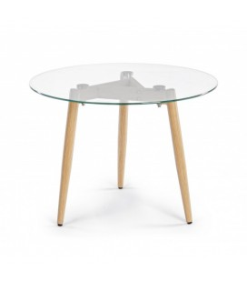Mesa auxiliar redondas patas en acero y tablero de cristal