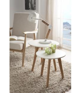 Mesa auxiliar Stich blanco y madera