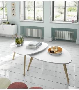 Mesa de centro Arlo madera y blanco satinado