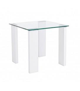 Mesa auxiliar cristal y blanco lacado