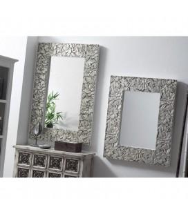 Espejo madera tallada plata