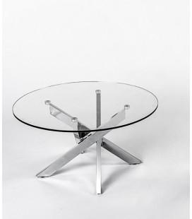 Mesa de centro redonda metal y cristal Enzo