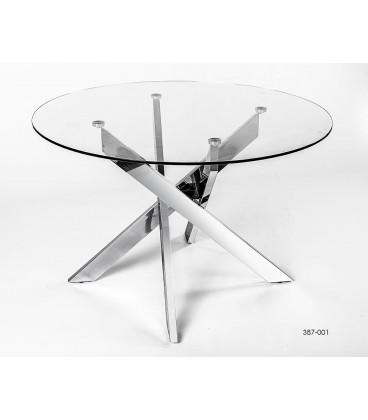 Mesa de comedor redonda con soporte de metal y tablero de cristal.
