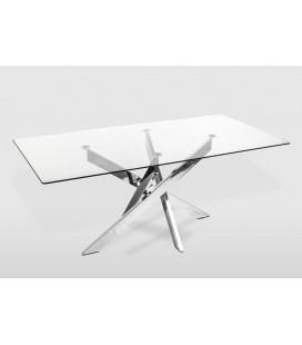 Mesa de comedor rectangular metal y cristal Enzo