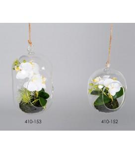 Colgante de cristal con orquídea blanca