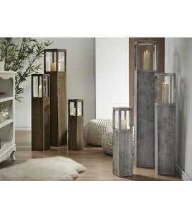 Conjunto de 3 portavelas rústicos madera