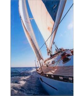 Cuadro náutica de cristal veleros y barcos