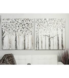 Cuadro óleo árboles blancos y grises plata