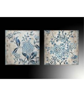 Pareja cuadros flores azules
