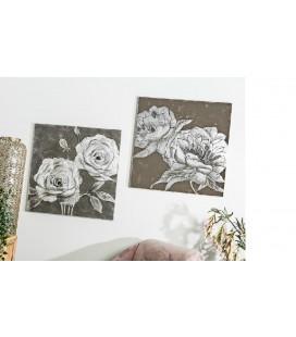 Pareja cuadros flores plata