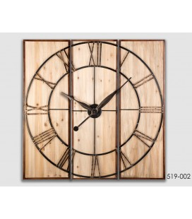RELOJ DE PARED TRÍPTICO NATURAL