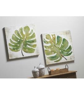 Pareja de cuadros hojas verdes