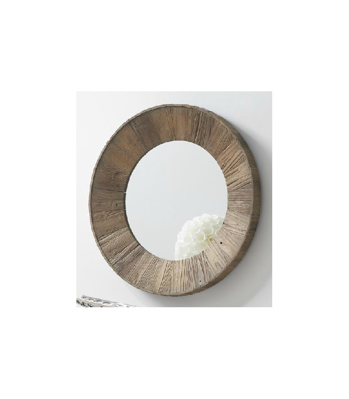 Espejo de pared redondo de color marr n de madera reciclada for Espejos de madera redondos