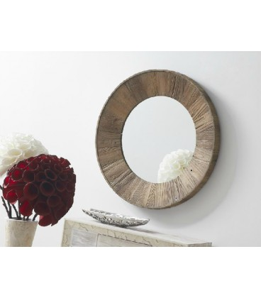 Espejo de pared redondo de color marr n de madera reciclada for Espejos redondos de madera