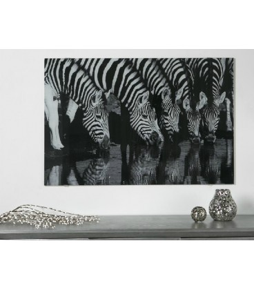 Cuadro de animales cebras blanco y negro