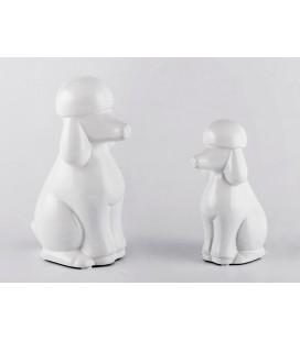 Perro caniche cerámica blanco
