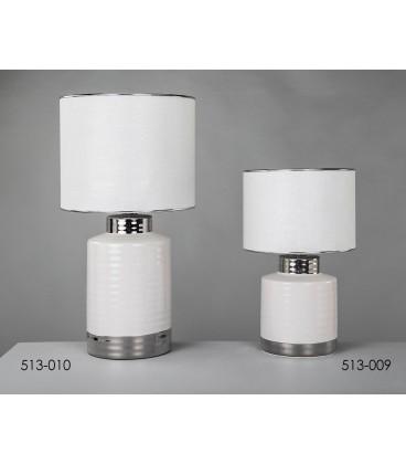 Lámparas de mesa Carmen blanca y plata