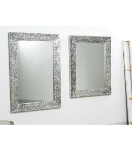 Espejo madera tallada plata Adiff