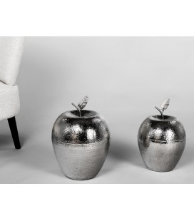 Figura decoración manzana grande plata